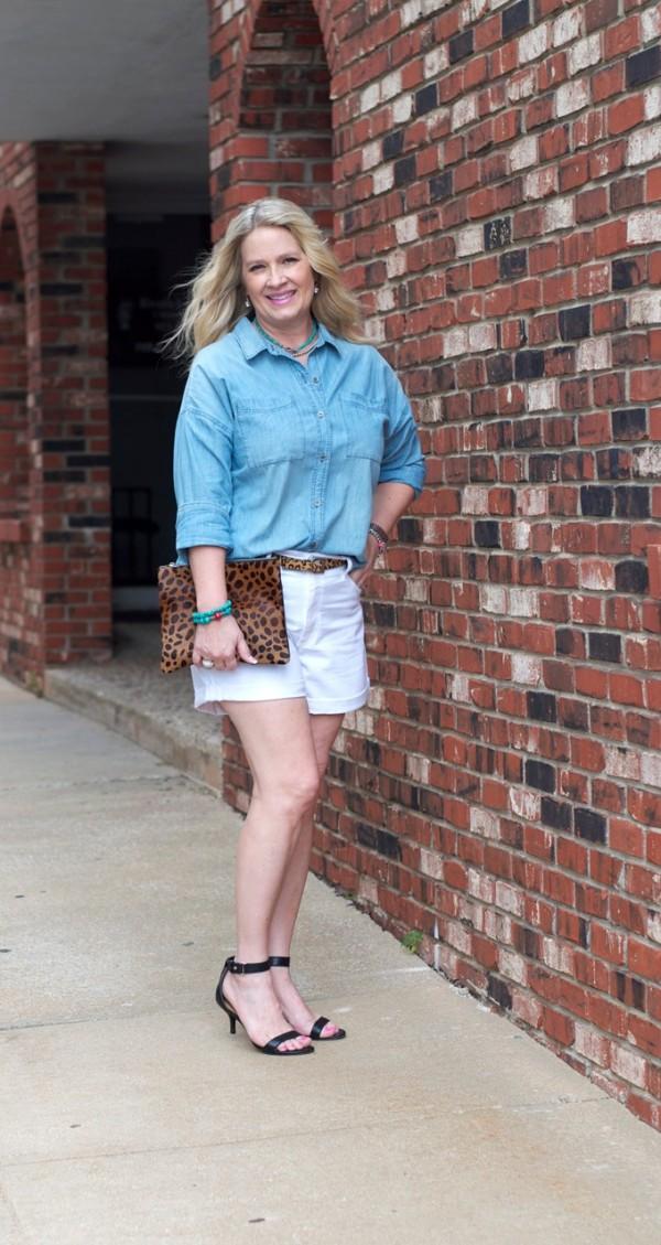 chambray shirt leopard print clutch shorts | 40plusstyle.com