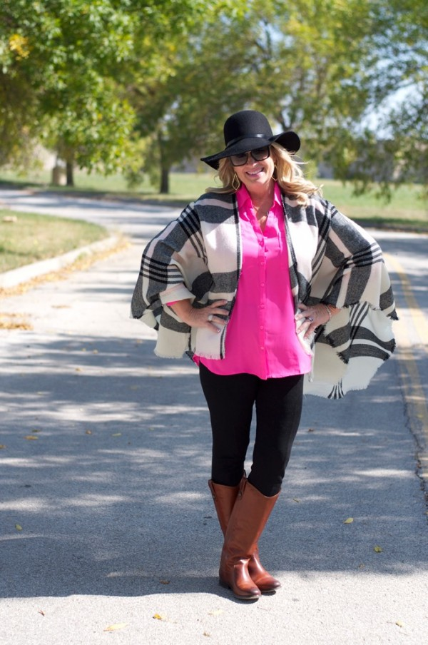 plaid poncho brown boots pink top | 40plusstyle.com