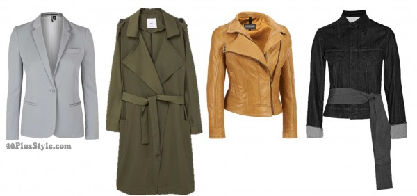 Spring trends hourglass blazer jacket trench denim | 40plusstyle.com
