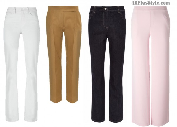 Spring looks hourglass pants jeans wide leg | 40plusstyle.com