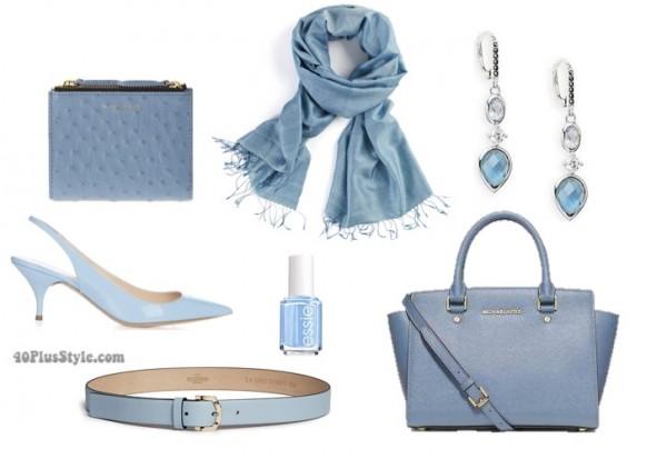 Pantone blue accessories | 40plusstyle.com