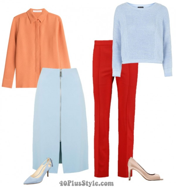 colorblock orange red blue slit skirt | 40plusstyle.com