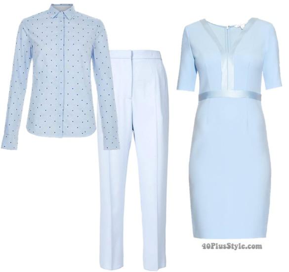 blue monochromatic dress pants | 40plusstyle.com