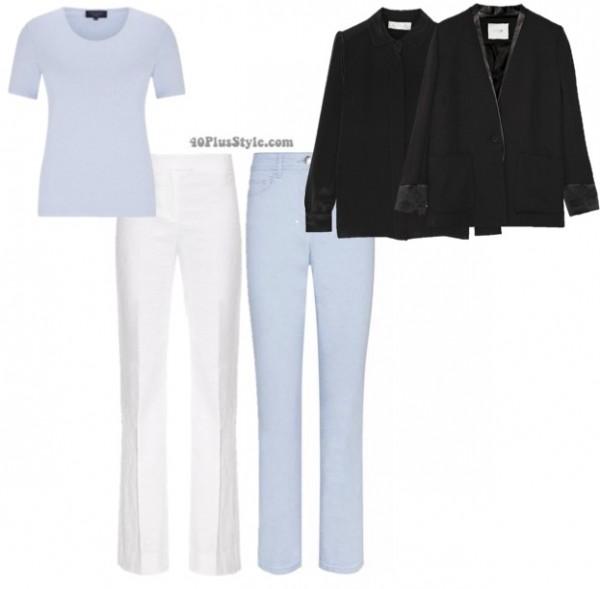 blue neutral looks blazer pants   40plusstyle.com