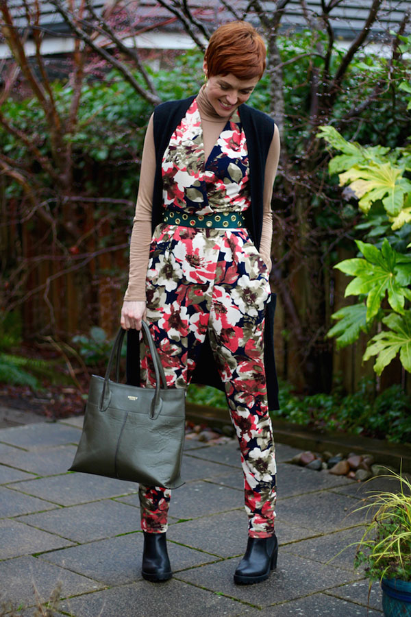 Floral jumper outfit Fake Fabulous Style Interview | 40plusstyle.com