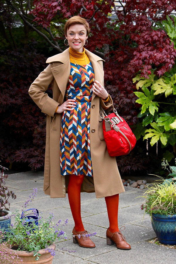 Vibrant prints and red stockings with Fake Fabulous | 40plusstyle.com