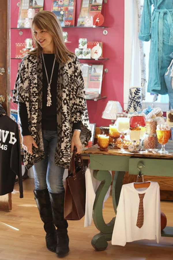 Aztec cardigan outfit with Susan Kanoff Style Interview | 40plusstyle.com