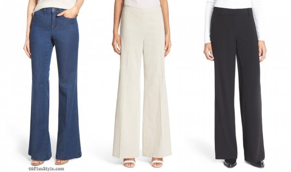 wide leg pants jeans length | 40plusstyle.com