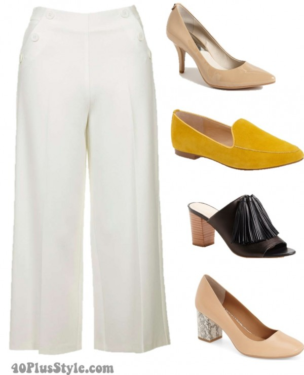 cropped wide leg pumps flats heels | 40plusstyle.com