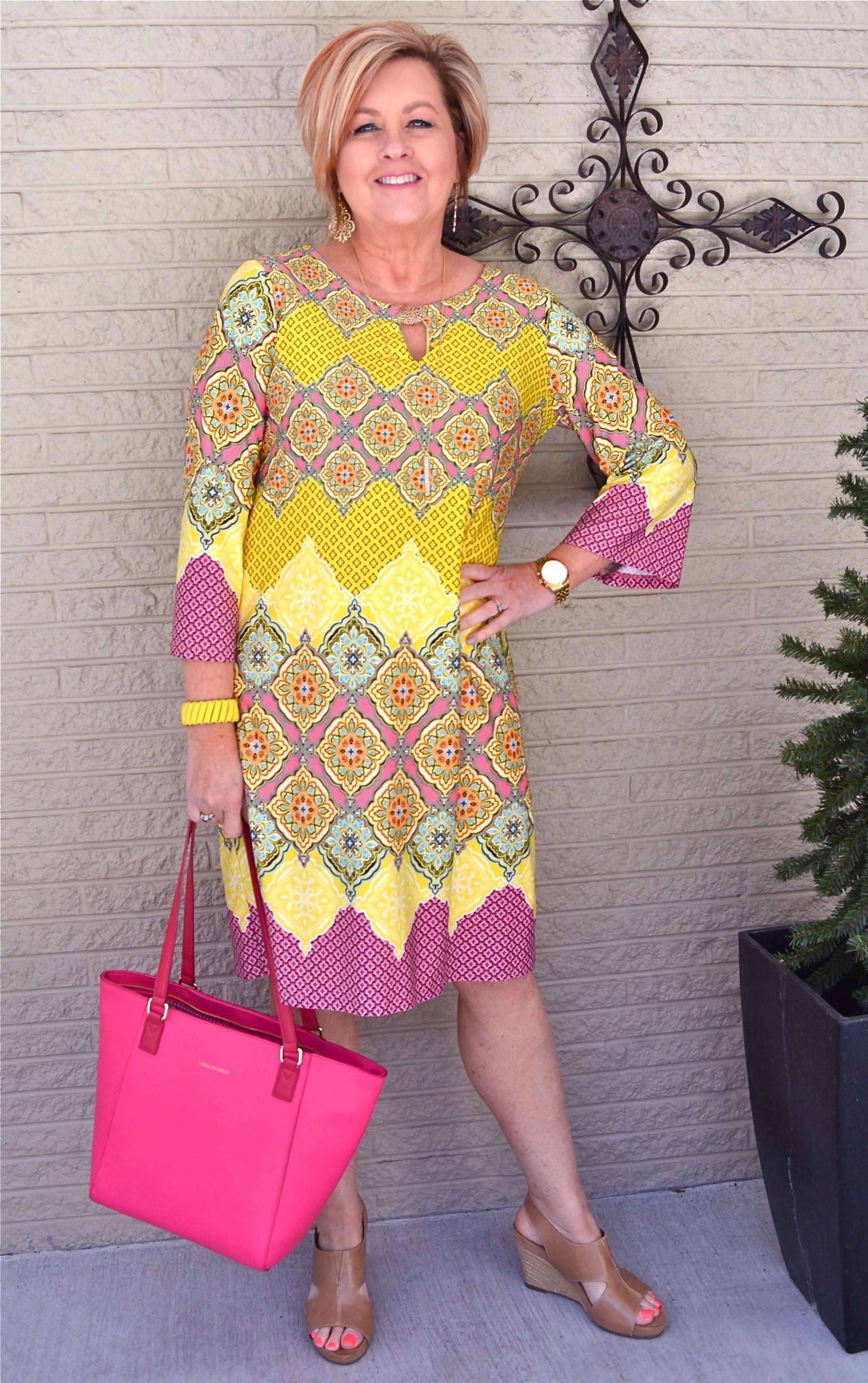 bright yellow dress   40plusstyle