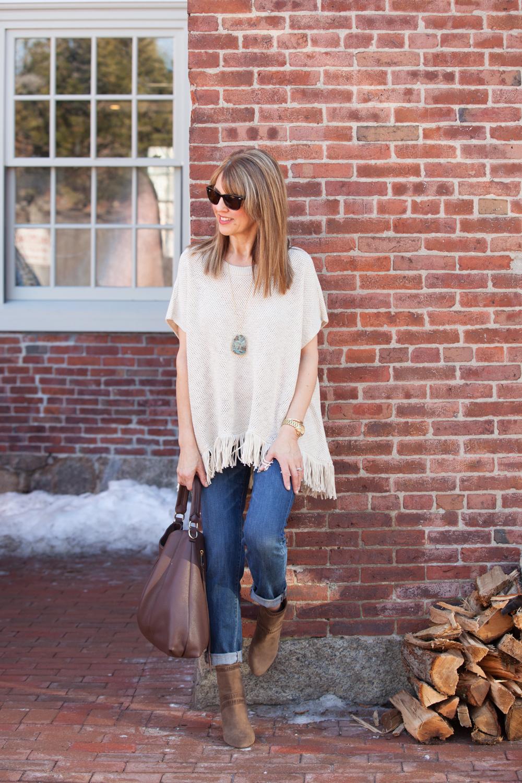 white fringe poncho | 40plusstyle.com