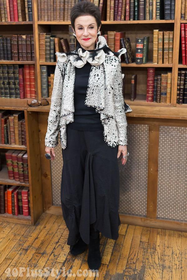 Diana Gabriel wearing a Asymmetrical blazer | 40plusstyle.com