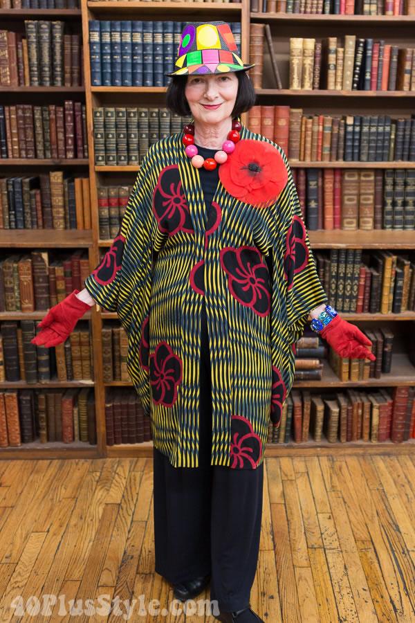 Carol Markel floral and stripes kimono | 40plusstyle.com