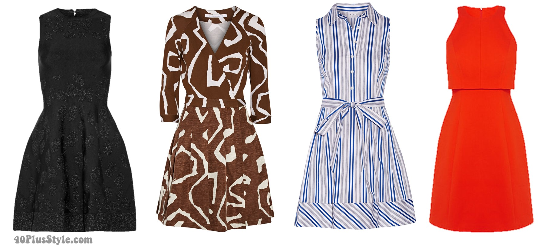Inverted triangle body shape spring looks dresses a-line | 40plusstyle.com