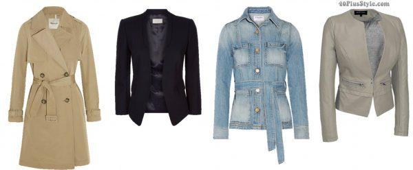 Inverted triangle body shape trenchcoat blazer jackets spring looks   40plusstyle.com