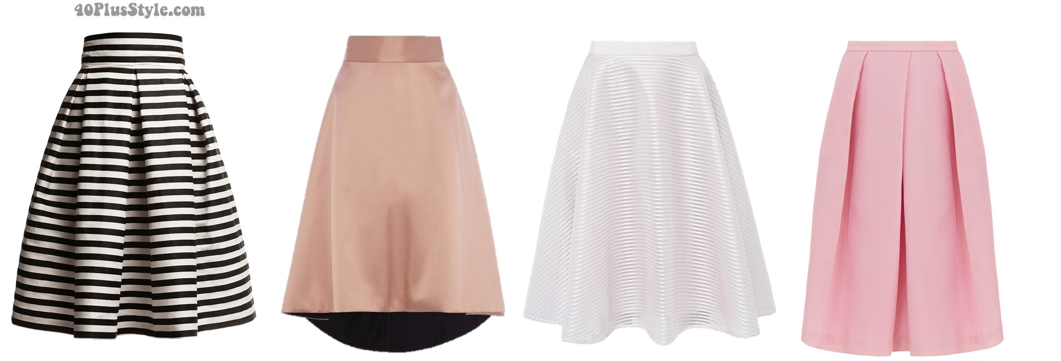Inverted triangle body shape spring skirts looks a-line   40plusstyle.com