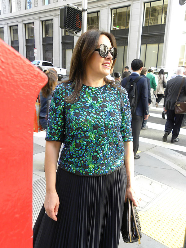 Green embellished top | 40plusstyle.com