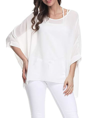 A top with a batwing sleeve is airy and covers your arms | 40plusstyle.com