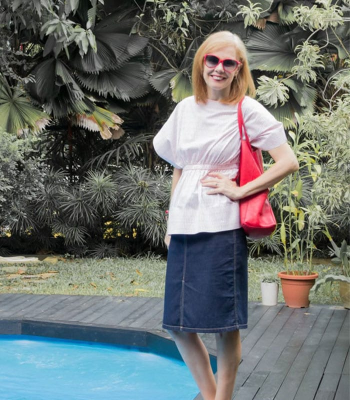 40+Style Casual Style Challenge - look 6 - a denim skirt with a colorful top | 40plusstyle.com