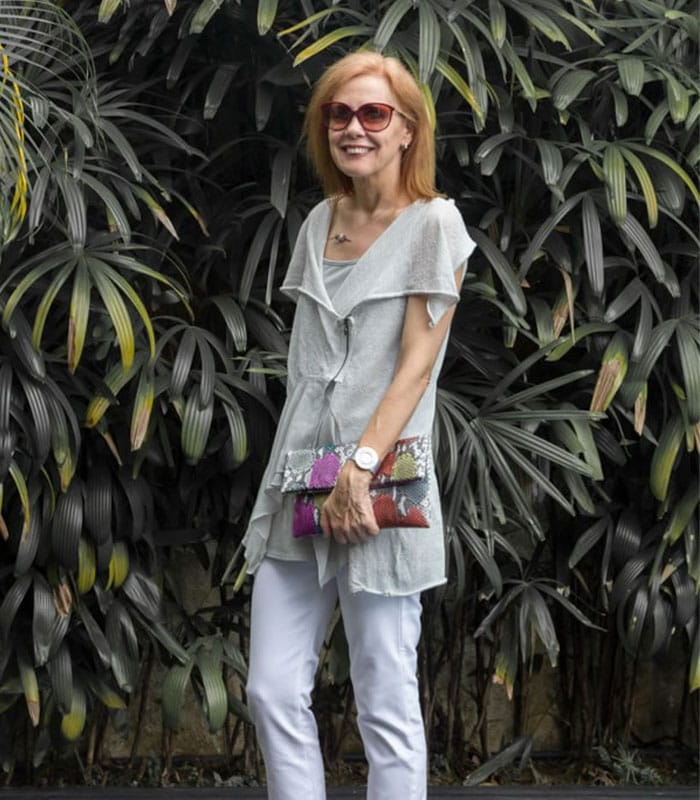 40+ Style Casual Summer Style Challenge - look 7 - white pants with asymmetric top | 40plusstyle.com