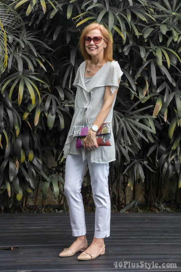 Tips for a stylish outfit: Wear unique tops paired with pants for a chic outfit   40plusstyle.com