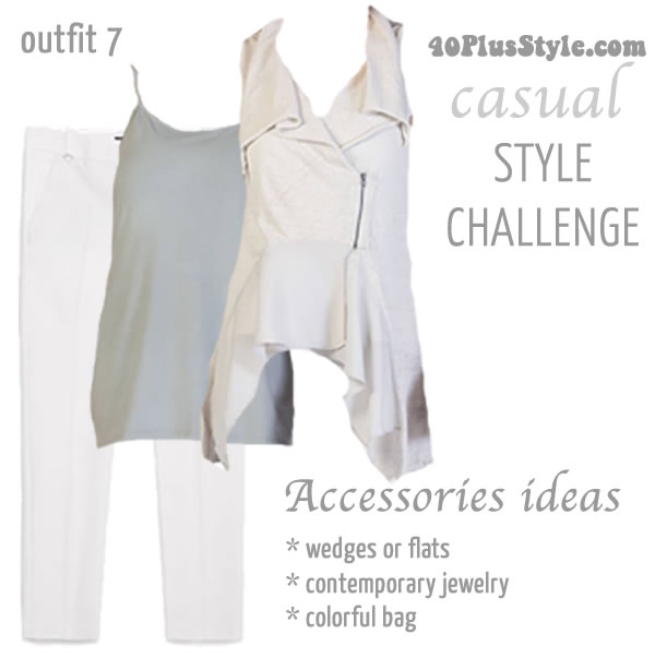 Asymmetrical top with jeans | 40plusstyle.com