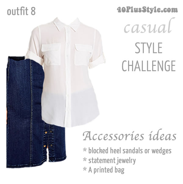 How to wear a white top and denim skirt | 40plusstyle.com