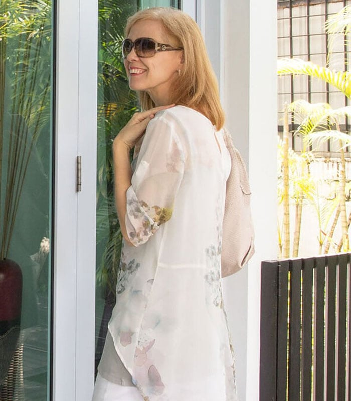 40+Style Casual Summer Style Challenge - Outfit 3 - layering with a sheer blouse | 40plusstyle.com