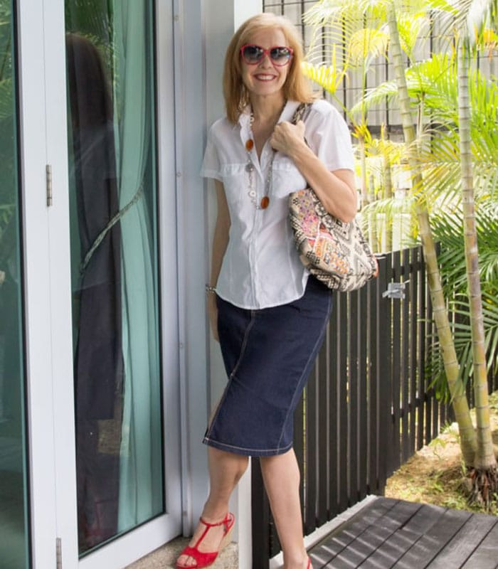 40+Style Casual Summer Style Challenge - look 8 - denim skirt with a white blouse | 40plusstyle.com
