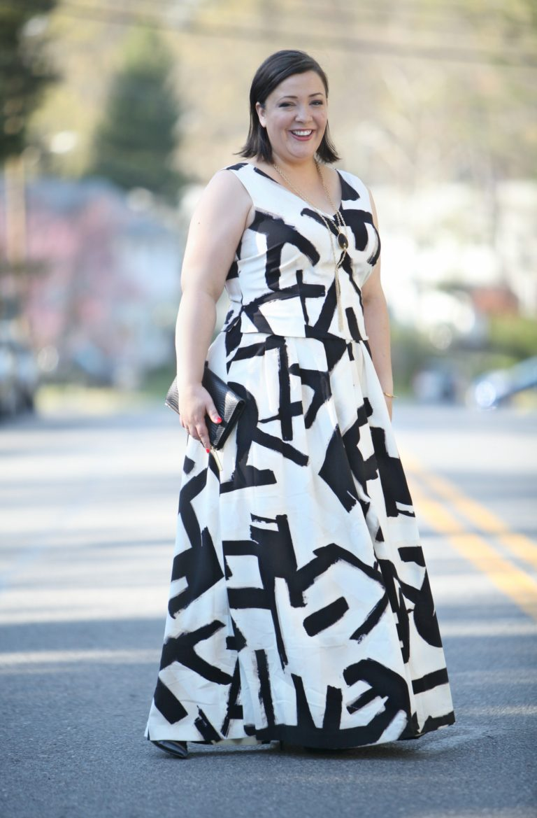 Letterpress maxi skirt and top   40plusstyle.com