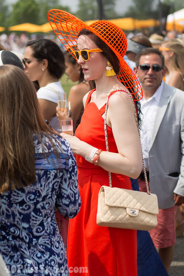 Morning polo orange cocktail dress outfit | 40plusstyle.com