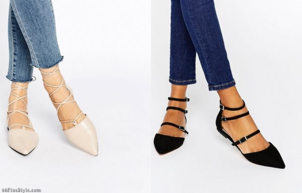 lace-up ankle straps calf boots flats | 40plusstyle.com