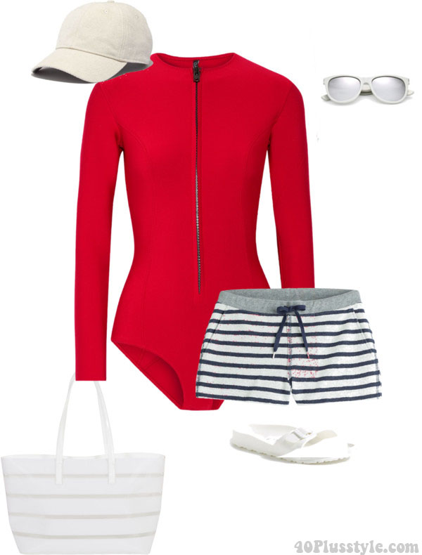 Shorts outfit idea for the beach   40plusstyle.com