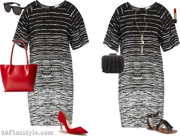 Black and white dress outfit for summer | 40plusstyle.com