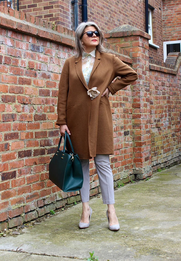 Brown coat with sheer floral top | 40plusstyle.com