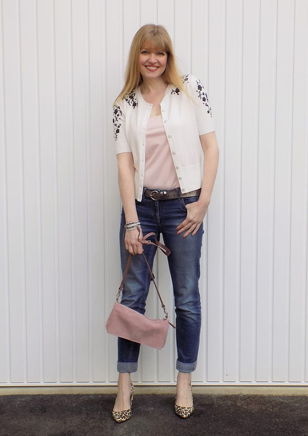 Embroidered cardigan with boyfriend jeans and leopard print shoes   40plusstyle.com
