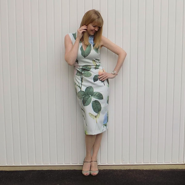 Floral bodycon dress with sparkly Jimmy Choos   40plusstyle.com
