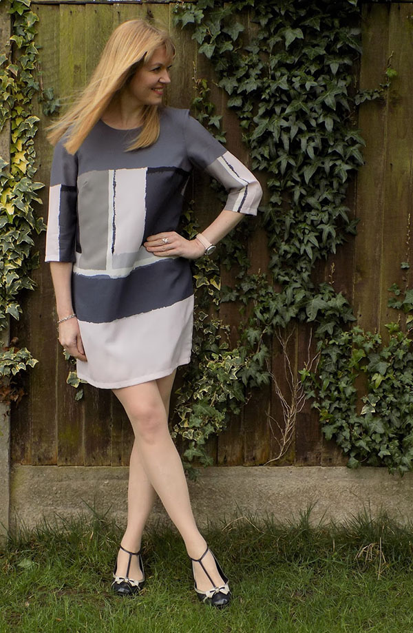 Great Plains Art Class Colourblock Shift Dress with Mulberry Mary Janes   40plusstyle.com