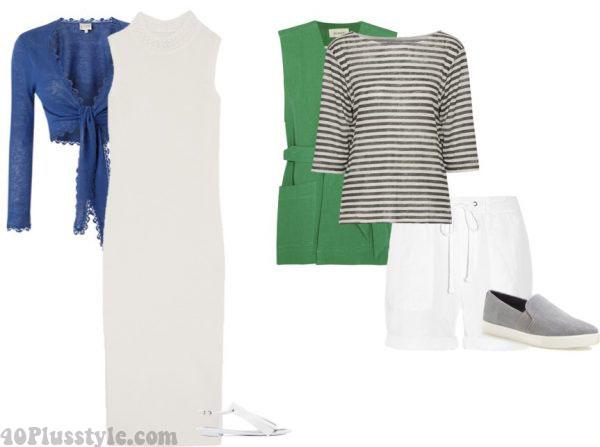 maxi dress summer linen shorts slip-on sneakers   40plusstyle.com