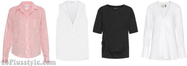 stylish summer linen shirts pink white | 40plusstyle.com
