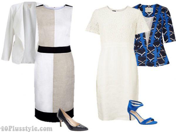 ethnic print jacket linen dress ankle strap heels | 40plusstyle.com