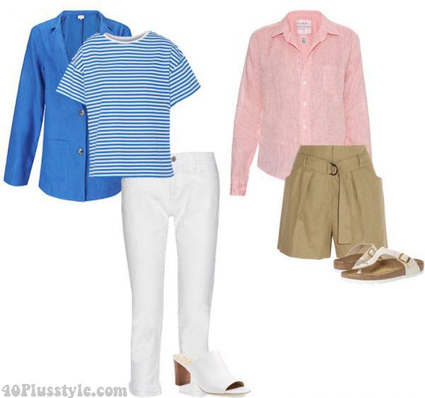 white jeans summer mules linen pink shirt blazer   40plusstyle.com