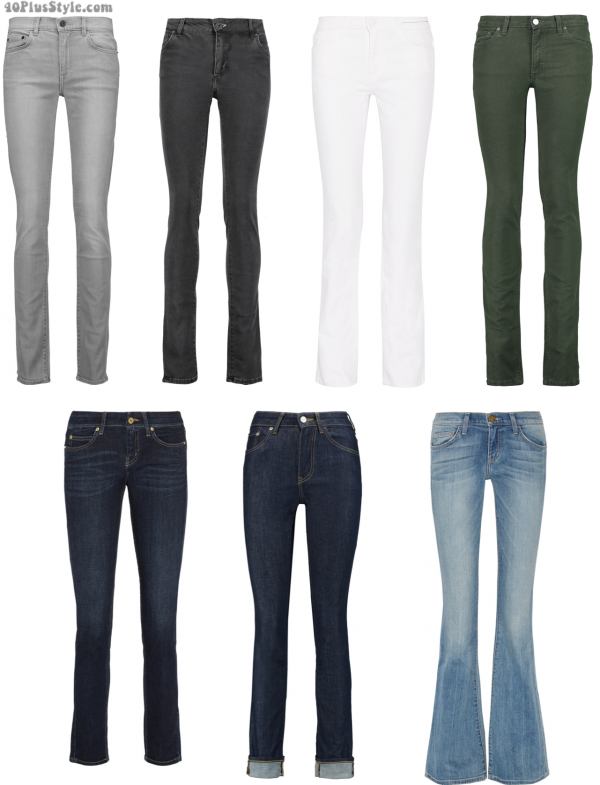 jeans office looks trouser white gray blue | 40plusstyle.com