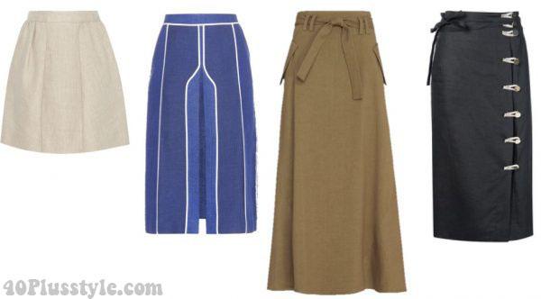 stylish summer linen skirt white brown | 40plusstyle.com