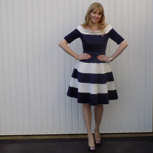 Navy and white dress with bow waist   40plusstyle.com