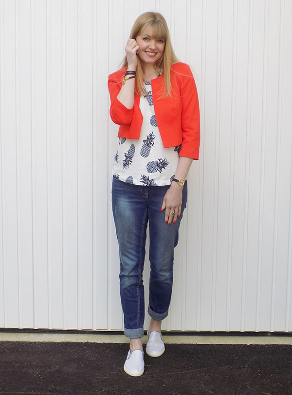 Pineapple Top with Bright Orange Jacket and Silver Pull-on Trainers   40plusstyle.com