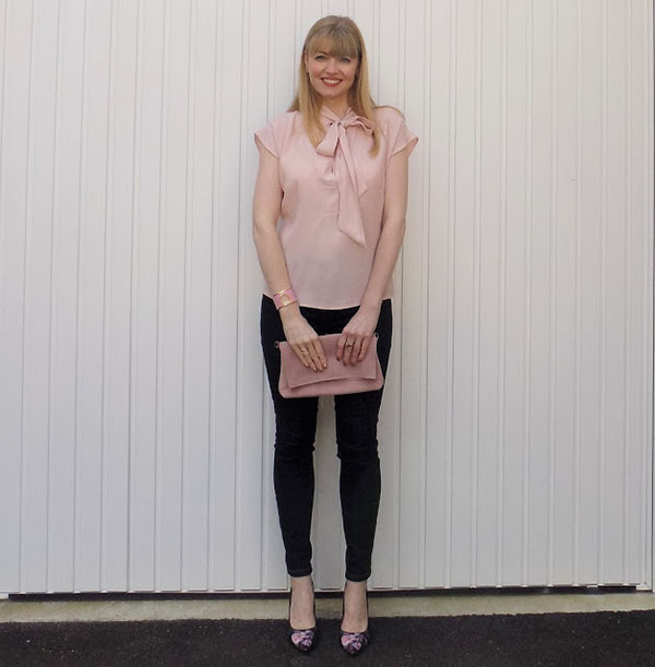 Pink pussy bow blouse with skinny jeans and floral shoes   40plusstyle.com