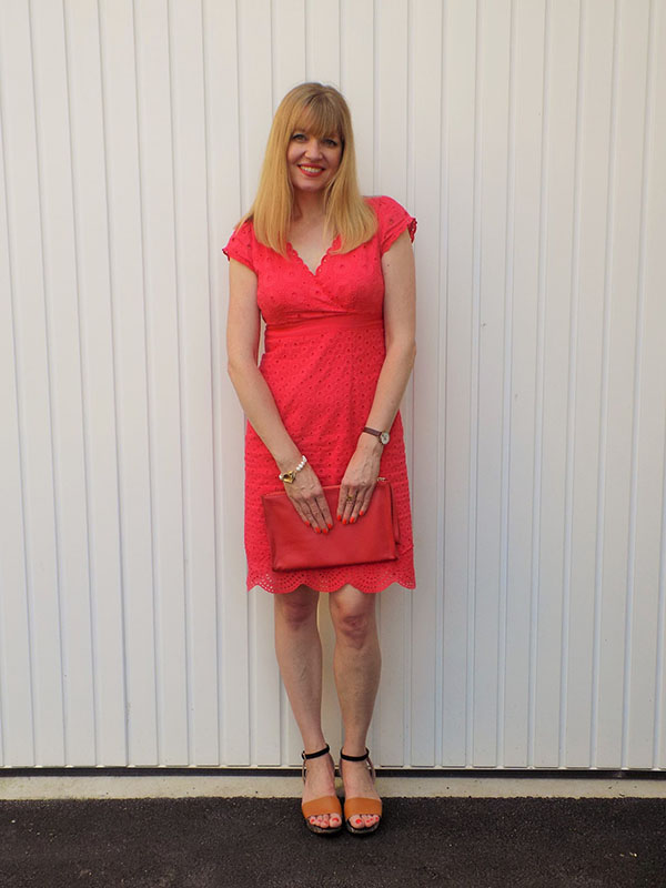 Red broderie angalaise dress   40plusstyle.com