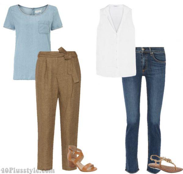 denim shirt linen pants leather sandals | 40plusstyle.com