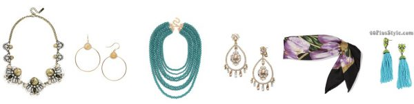 stylish accessories silk scarf statement earrings necklace slimmer | 40plusstyle.com